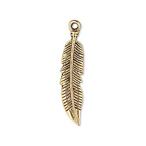 charm, antique gold-finished pewter (zinc-based alloy), 28x7mm double-sided feather. sold per pkg of 10.