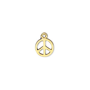 charm, antique gold-finished pewter (zinc-based alloy), 9mm peace sign. sold per pkg of 20.