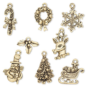 charm, antique gold-plated pewter (tin-based alloy), 12.5x9mm-22.5x17.5mm christmas theme. sold per 8-piece set.