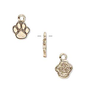 charm, antique gold-plated pewter (tin-based alloy), 12.5x9mm single-sided paw print. sold per pkg of 4.