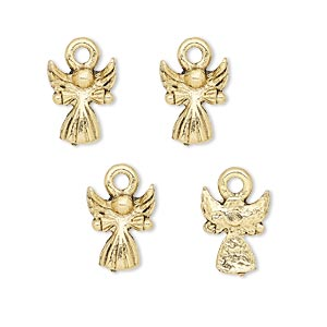 charm, antique gold-plated pewter (tin-based alloy), 12x9mm baby angel. sold per pkg of 4.