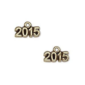 charm, antique gold-plated pewter (tin-based alloy), 14x5mm single-sided 2015. sold per pkg of 2.
