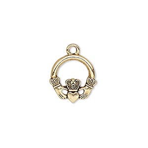 charm, antique gold-plated pewter (tin-based alloy), 15x14mm single-sided claddagh. sold per pkg of 2.