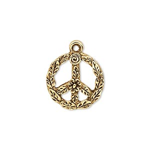 charm, antique gold-plated pewter (tin-based alloy), 17mm single-sided round peace sign with leaf and flower design. sold per pkg of 2.