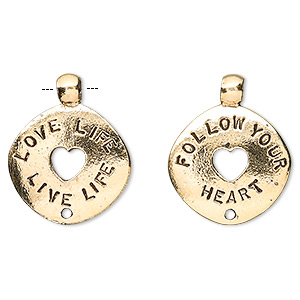 charm, antique gold-plated pewter (tin-based alloy), 22x18mm two-sided round donut with love life live life and follow your heart. sold per pkg of 4.