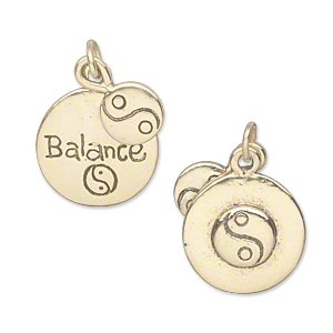 charm, antique gold-plated pewter (tin-based alloy), 8.5mm double-sided flat round with yin-yang design and 16mm double-sided flat round with balance / raised yin-yang design. sold individually.