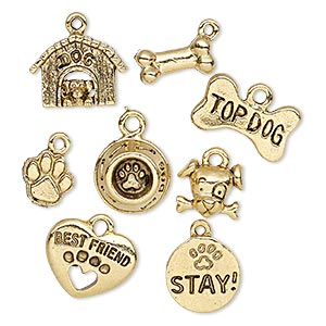 charm, antique gold-plated pewter (tin-based alloy), 9x9mm-16.5x12mm assorted dog lover theme. sold per 8-piece set.