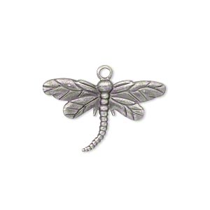 charm, antique silver-plated brass, 26x15mm single-sided dragonfly. sold per pkg of 20.