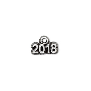 charm, antique silver-plated pewter (tin-based alloy), 13x5mm single-sided 2018. sold per pkg of 2.