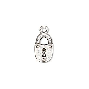charm, antique silver-plated pewter (tin-based alloy), 14x9mm single-sided lock. sold per pkg of 2.