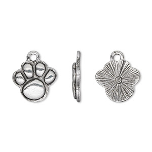 charm, antique silver-plated pewter (tin-based alloy), 15x13mm single-sided paw print. sold per pkg of 2.