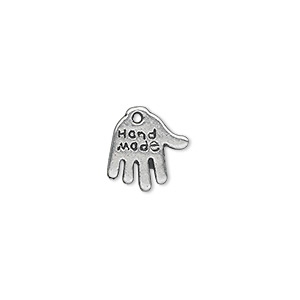 charm, antique silver-plated pewter (zinc-based alloy), 13x11mm double-sided hand with hand made engraving. sold per pkg of 50.