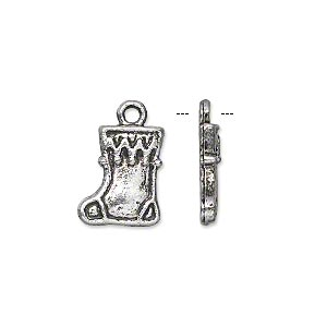 charm, antique silver-plated pewter (zinc-based alloy), 13x12mm single-sided christmas stocking. sold per pkg of 20.