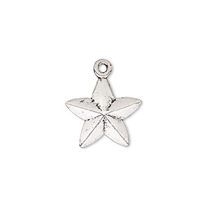 charm, antique silver-plated pewter (zinc-based alloy), 15x15mm double-sided faceted star. sold per pkg of 10.