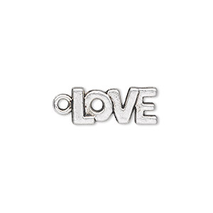 charm, antique silver-plated pewter (zinc-based alloy), 17x8mm single-sided love. sold per pkg of 50.