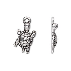 charm, antique silver-plated pewter (zinc-based alloy), 19x12mm single-sided turtle. sold per pkg of 20.