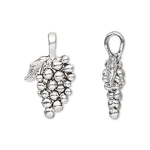 charm, antique silver-plated pewter (zinc-based alloy), 19x14mm double-sided grapes. sold per pkg of 6.