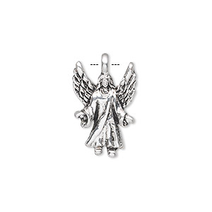 charm, antique silver-plated pewter (zinc-based alloy), 20x13mm single-sided angel. sold per pkg of 10.
