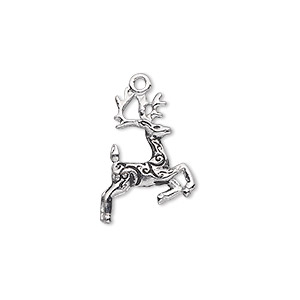 charm, antique silver-plated pewter (zinc-based alloy), 20x14mm double-sided reindeer. sold individually.