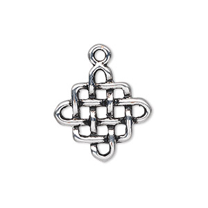 charm, antique silver-plated pewter (zinc-based alloy), 20x20mm double-sided knot. sold per pkg of 10.