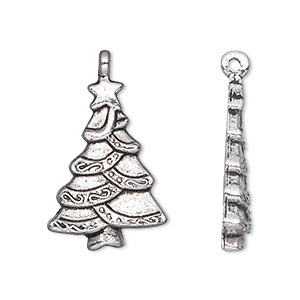 charm, antique silver-plated pewter (zinc-based alloy), 25x18mm single-sided christmas tree. sold per pkg of 10.