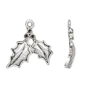 charm, antique silver-plated pewter (zinc-based alloy), 25x19mm single-sided holly leaves with (3) pp15 settings. sold per pkg of 10.