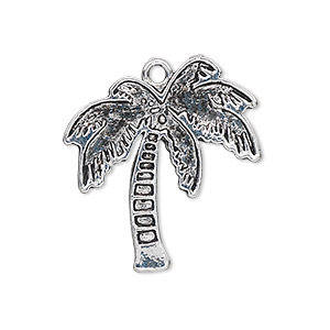 charm, antique silver-plated pewter (zinc-based alloy), 28x26mm single-sided palm tree. sold per pkg of 6.