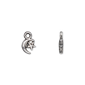 charm, antique silver-plated pewter (zinc-based alloy), 8x7mm double-sided moon and star. sold per pkg of 100.