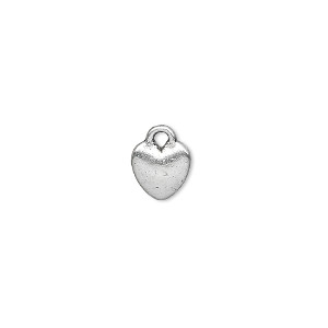 charm, antique silver-plated pewter (zinc-based alloy), 8x8mm double-sided heart. sold per pkg of 500.