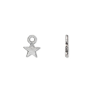 charm, antique silver-plated pewter (zinc-based alloy), 8x8mm double-sided star. sold per pkg of 50.