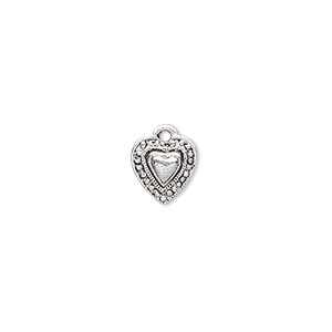 charm, antique silver-plated pewter (zinc-based alloy), 9x9mm single-sided beaded heart. sold per pkg of 20.