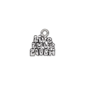 charm, antiqued pewter (tin-based alloy), 13x11mm single-sided 3-tiered live love laugh. sold per pkg of 2.