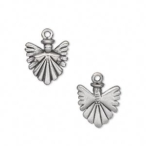 charm, antiqued pewter (tin-based alloy), 14x13mm double-sided angel. sold per pkg of 2.