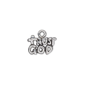 charm, antiqued pewter (tin-based alloy), 15x10mm single-sided 2-tiered trust god. sold per pkg of 2.