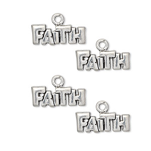 charm, antiqued pewter (tin-based alloy), 16x6mm faith. sold per pkg of 4.