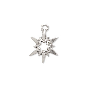 charm, antiqued pewter (tin-based alloy), 17x14mm open star. sold per pkg of 2.