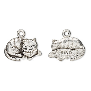 charm, antiqued pewter (tin-based alloy), 18x12mm napping cat. sold per pkg of 2.