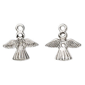 charm, antiqued pewter (tin-based alloy), 19x15mm angel with halo. sold per pkg of 4.