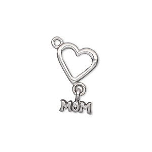 charm, antiqued pewter (tin-based alloy), 21x12mm single-sided mom with open heart. sold per pkg of 2.