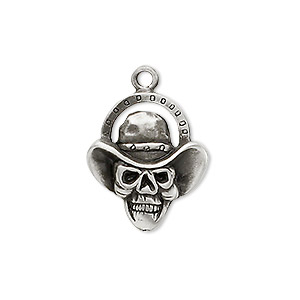 charm, antiqued pewter (tin-based alloy), 21x18mm drover skull. sold per pkg of 2.