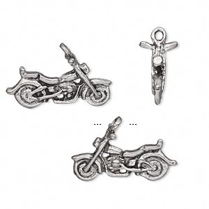charm, antiqued pewter (tin-based alloy), 22x10mm 3d motorcycle. sold per pkg of 2.