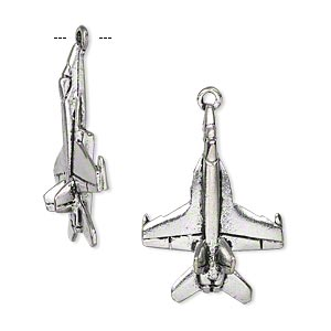 charm, antiqued pewter (tin-based alloy), 27x19mm jet fighter. sold per pkg of 2.
