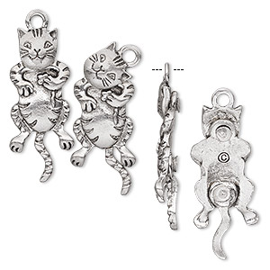 charm, antiqued pewter (tin-based alloy), 29.5x13mm cat with moving head and tail. sold per pkg of 2.