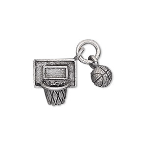 charm, antiqued pewter (tin-based alloy), 6mm 3d basketball and 15x13mm 3d net. sold individually.