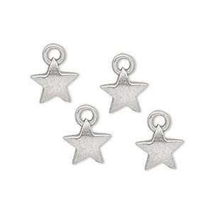 charm, antiqued pewter (tin-based alloy), 9x9mm double-sided star. sold per pkg of 4.