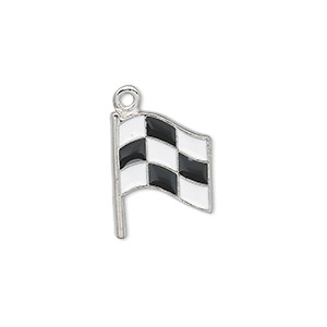 charm, antiqued pewter (tin-based alloy) with enamel, black and white, 17x13mm single-sided checkered flag. sold per pkg of 2.