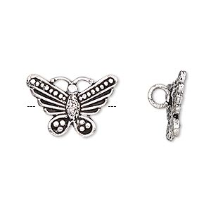 charm, antiqued silver-finished brass, 19x13mm single-sided butterfly with hidden loop. sold per pkg of 2.
