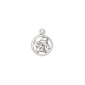 charm, antiqued sterling silver, 12mm round with angel in thought. sold individually.