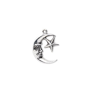 charm, antiqued sterling silver, 14x12mm moon face with star. sold individually.