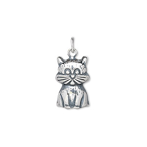 charm, antiqued sterling silver, 15x10mm cat. sold per pkg of 2.